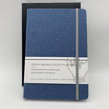 Undated Daily Planner Productivity Agenda Goal Notebook Hardcover Denim Zeito