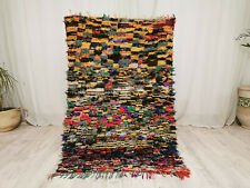 Handmade Boucharoute Moroccan Vintage 3'5x5' Checkered Colorful Berber Wool Rug