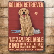 Golden Retriever Dog  ..., Colourful Metal 20cm x 15cm metal Sign,