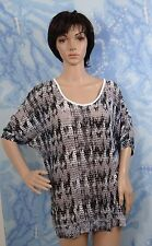 BCG short sleeve key hole back gray dye see through swim cover up Top,size M