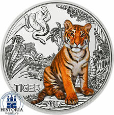 Austria 3 Euro Animal Taler the Tiger 2017 Coin Hand lifted in coin capsule