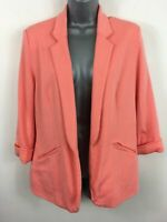 WOMENS QUIZ BRIGHT CORAL OPEN FRONT 3/4 SLEEVE SMART CASUAL BLAZER JACKET UK 12