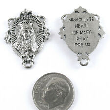 BLESSED MOTHER Pewter Rosary Connector - SILVER 29x20mm (1 Piece)