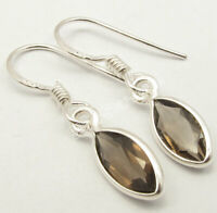 "Natural Marquise Shape SMOKY QUARTZ 925 Solid Silver Earrings 1.2"" Gift Jewelry"