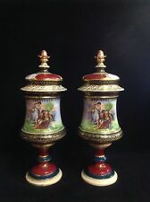 Pair Of Royal Vienna Mantle Urns With Behive Mark Austria