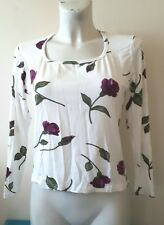 top femme t-shirt manches longues court matière moulante extensible taille 44