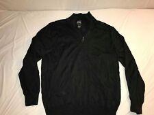 JOS A BANK Black 100% Merino Wool Half Zip Fleece Men's Sweater Size XL