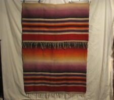 RARE ANTIQUE HAND WOVEN WOOL BLANKET in MEXICAN STRIPE PATTERN