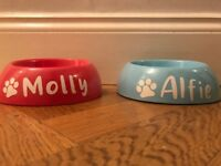 Dog Puppy Cat Pet Bowl Personalised  name (stickers only)