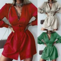 Women's Slim Solid Shirt Dress Lady Long Sleeve Casual V Neck Ball Gown Dresses