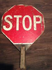 Early Wooden School Crossing Guard, Two Sided - Stop or Slow - Sign