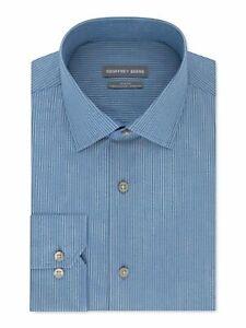 Geoffrey Beene Mens Dress Shirt Blue Size XL 17-17 1/2 Stripe Slim Fit $60 #031