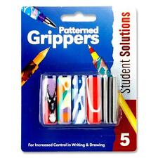 Pack5 School Soft Grip Asst Colours pattern Pencil Grippers -Right / Left Handed