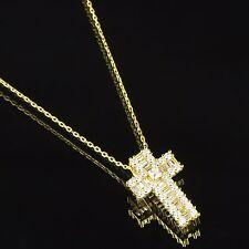 Princess Cut Solitaire Cross Pendant 14k Gold Over Sterling Silver Necklace Set