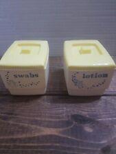Vintage Clarolyte Yellow Bathroom Nursery Vanity Replacement Storage Containers
