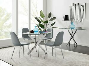 NOVARA Chrome Round Glass Dining Table and 4 Velvet Faux Leather Dining Chairs