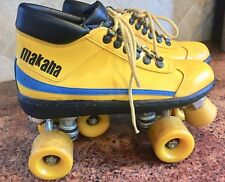 MAKAHA Roller Skates Rare Vintage 1970 Mens Sz 6 Shoes Roller Derby Yellow MINT