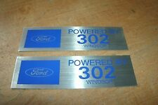 FORD POWERED BY 302 WINDSOR ENGINE VALVE COVER DECALS NEW PAIR BLUE SILVER 2x