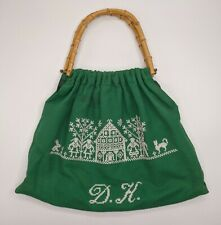 Vtg Green Cross Stitched/Embroidered Domestic Scene W/ Bamboo Handles Craft Bag