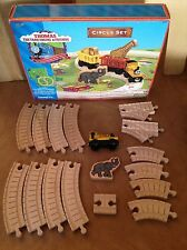 Used Duncan Thomas Tank Train Circus Set Brown label Wooden Car Tracks