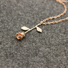 Rose Flower Pendant Beauty And The Beast Necklace Rose Gold Silver Charm Jewelry