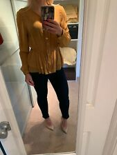 Burberry Mustard Silk Button Down Blouse Top Size Small