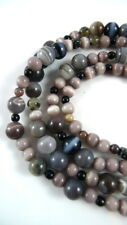 "30"" Strand Assorted GREY MAUVE BLACK Beads 132 Count Genuine Stone & Cat's Eye"