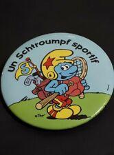 Smurfs Animation BD pin Extra Rare un Schtroumpf Sportif pinback 1986 made USA