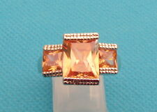 Silver Plated Ring With Lab Created Morganite,  UK U, US 10  (rg1075)