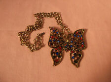 Large Multi coloured crystal Butterfly pendant and gold plated chain