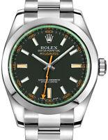 Rolex Milgauss Steel Black Dial Green Crystal Orange Hand Mens 40mm Watch 116400