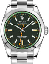 Rolex Milgauss Steel Black Dial Green Crystal Orange Hand Watch BoxPapers 116400