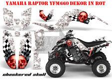 AMR RACING GRAPHIC KIT ATV YAMAHA RAPTOR 125/250/350/660/700 CHECKERED SKULL B