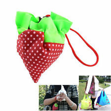 5X UK Folding Eco Shopping Travel Bag Pouch Tote Handbag Strawberry Reusable