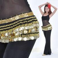 AU Belly Dance Hip Scarf Skirt Wrap Costumes Gold Coins Velvet Belt Costume