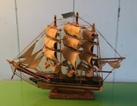 "Model Sailing Ship Red Jacket, Vintage 10"" Tall x 13"" long x 3"" wide, Vintage"