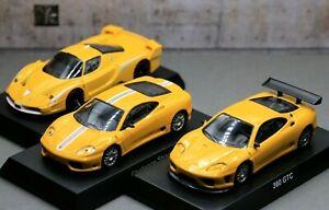 Kyosho 1/64 Ferrari Collection F360 GTC + Fxx Evo + Challenge Stradale 3 Cars