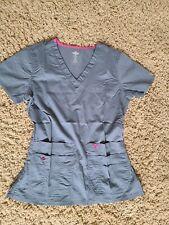 Med Couture E-Z Flex Gray Scrub Top Size Xs