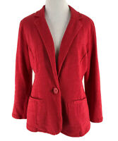 Caslon Women's Red Cotton Single Button Long Sleeve Blazer Jacket Size Small