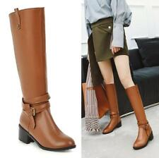 Women Combat Riding Military Knee High Casual Boots Buckle Block Heel Zip Shoes