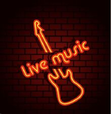"New Live Music Guitar Open Beer Bar Neon Light Sign 24""x20"""