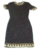 Sz S/M ~ Laurence Kazar 100% Silk Black Beaded Dress w/Gold Accents