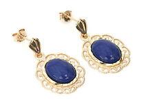 9ct Gold Lapis Lazuli Filigree drop dangly earrings Gift Boxed Made in UK