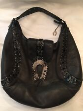 Betsey Johnson Lg Aged Dark Gray Leather w/Antiqued Black Metal Accents Purse