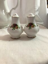 """Royal Albert England Old Country Roses Salt and Pepper 3-1/4""""- UNUSED"""