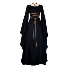 UK Women Retro Vintage Renaissance Gothic Costume Medieval Gown Dress
