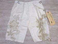 NEW Da-Nang Silk Blend Embroidered Cargo Short in White (stt51001587) - Small S