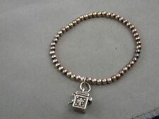 925 Sterling Charm Box With Lid on Silver Bead Ball Bracelet Estate Find