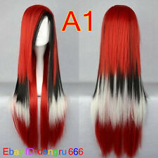 Hot Sell! Lolita Long Multi-Color Mixed Straight Cosplay wig + Free wig cap A56