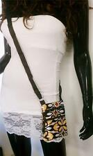 Flower Design Print Messenger Shoulder HandBag Crossbody Women Brown Bag